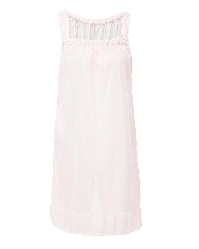 Pink Nylon & Net Blossom Nightwear For Women