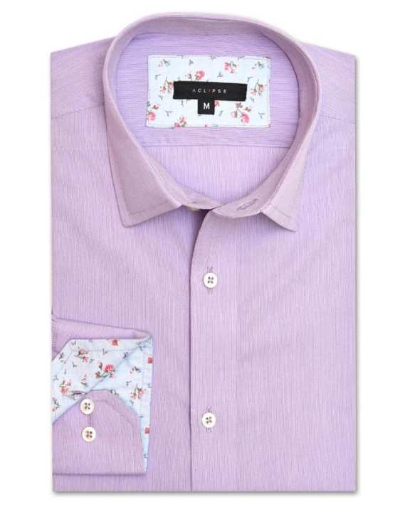 ACLIPSE - Lavender Pinstripe Cotton Shirt for Men - FS16038