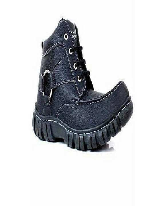 Black Leather High-Top Boots For Men