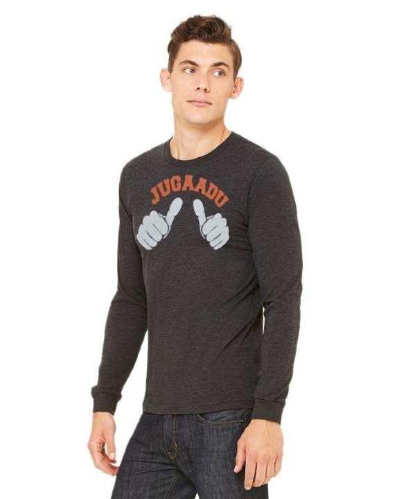 Dark Grey Cotton Printed T-Shirt For Men