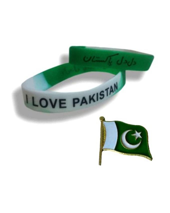 a4a7e80106 KC Pack of 3 - 2 Pakistan Independence Day Wrist Band & 1 Badge - Green