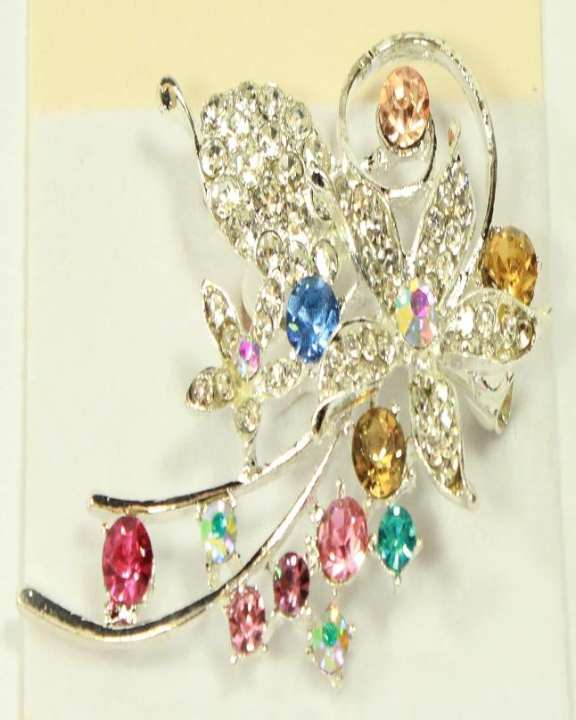 Silver Flower Shape Brooch With Multi Stones