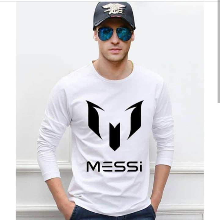 White Messi Printed Full Sleeve T-shirt For Men