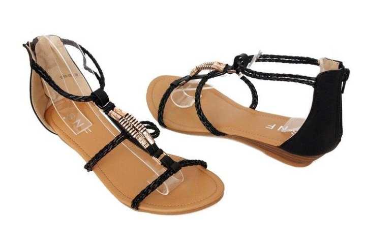 Black Flat Sandals For Women