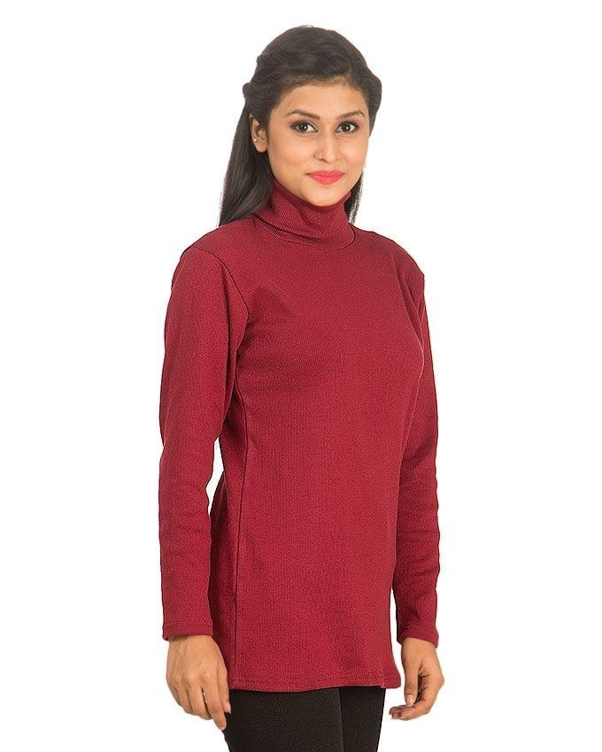 Maroon - Fleece - High Neck Sweater For Women