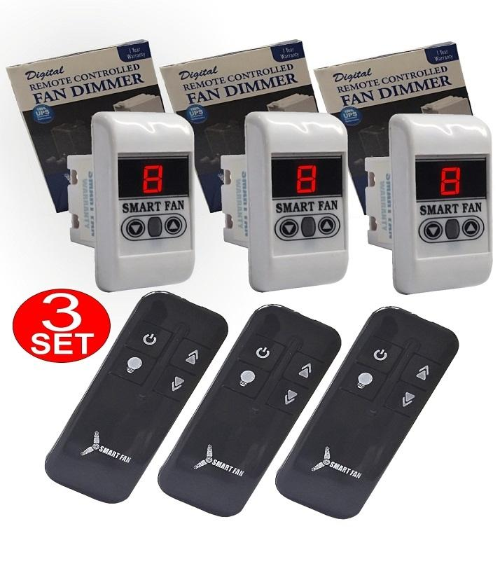 SmartFan Company 3 Sets -Digital Remote Control Fan Regulator(Piano Fitting  Style)