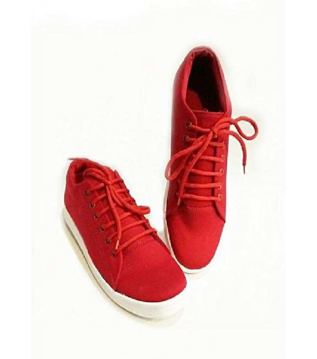 Red Stylish Canvas Sneakers- Unisex