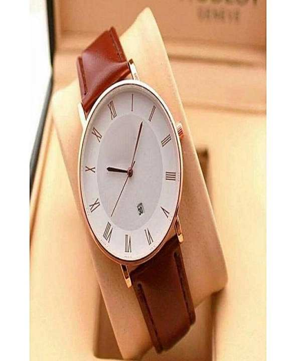 D Marts Brown Leather Date Analog Watch For Men