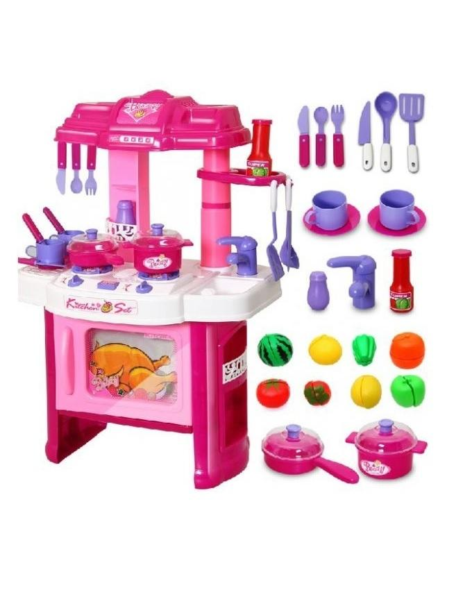Large Frozen Kitchen Set With Accessories - Pink