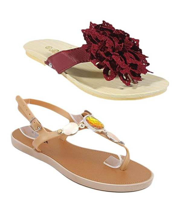 Pack Of 2 - Fancy Sandal & Floral Slipper For Women - MT4