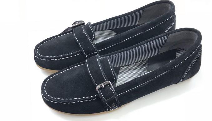 Black Leather Velvet Shoes For Ladies-M-501