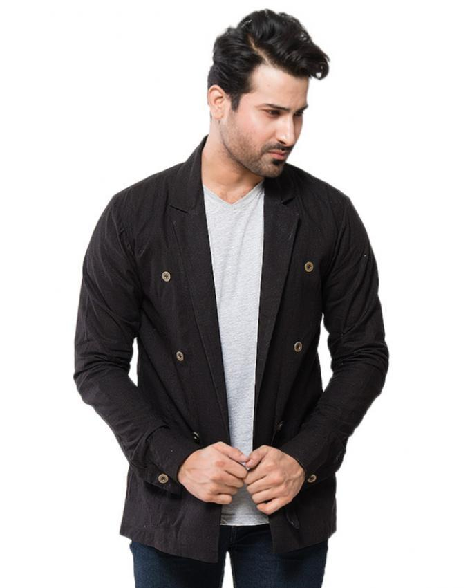 Black Linen Coat With Blue Lining for Men