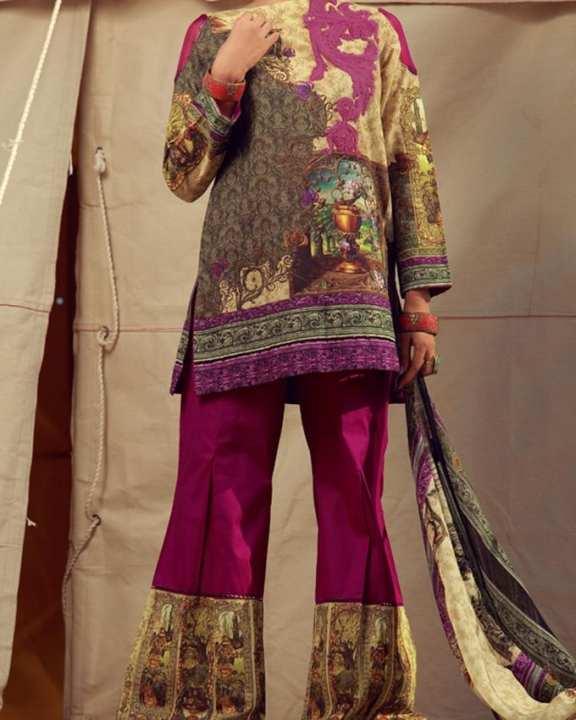 Multicolour 3pc Unstitched Ladies Suit-Winter Collection Vol.04