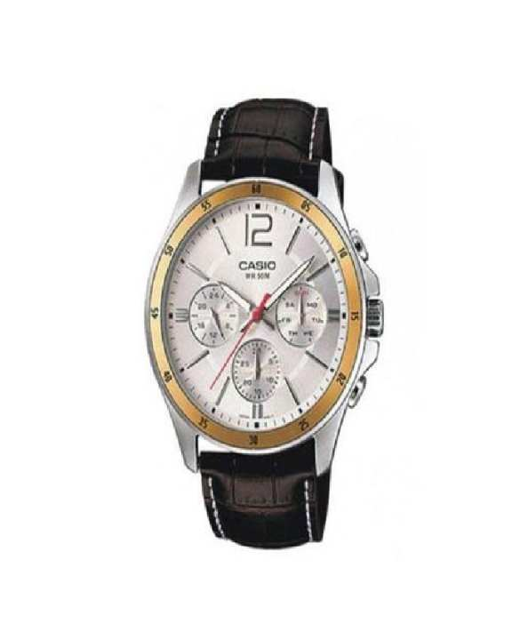 Brown Leather Watch for Men - MTP-1374L-7AVDF