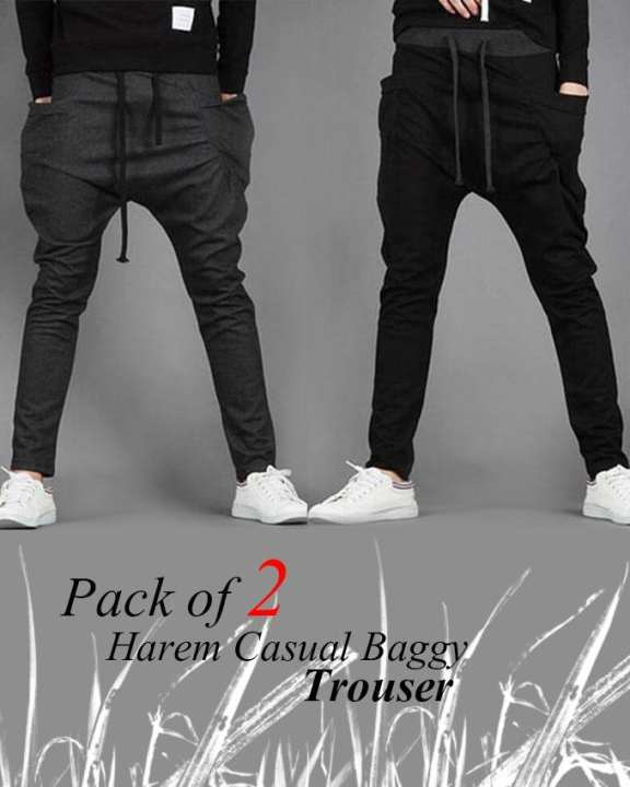 Pack Of 2 Hareem Casual Baggy Trousers For Men