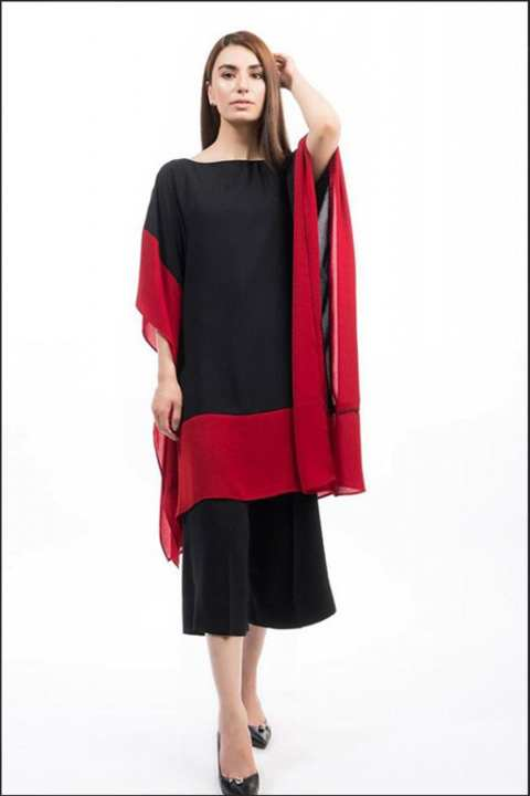 BRANDSTITCH Red Border Poncho Chiffon Suit For Women