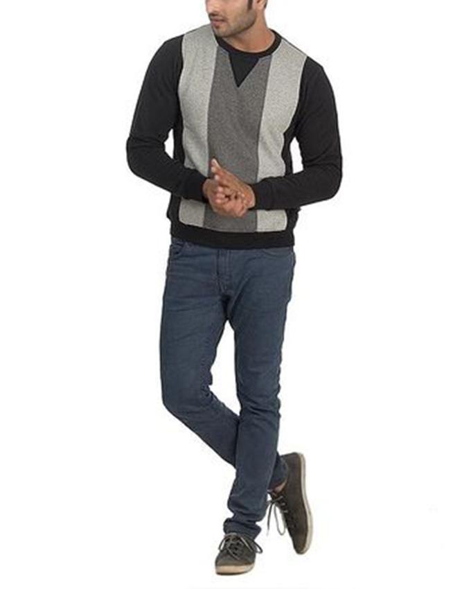 Navy Blue & Grey Cotton Fleece Full Sleeves Sweater For Men - 7869-260