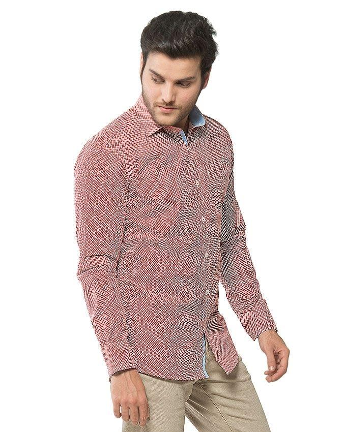 ACLIPSE - Red Printed Shirt with Sky Blue Trims