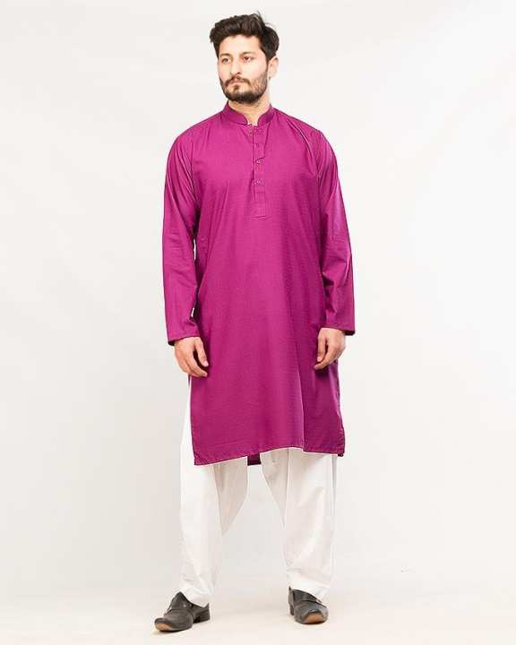 Purple Blended Cotton Kurta For Men