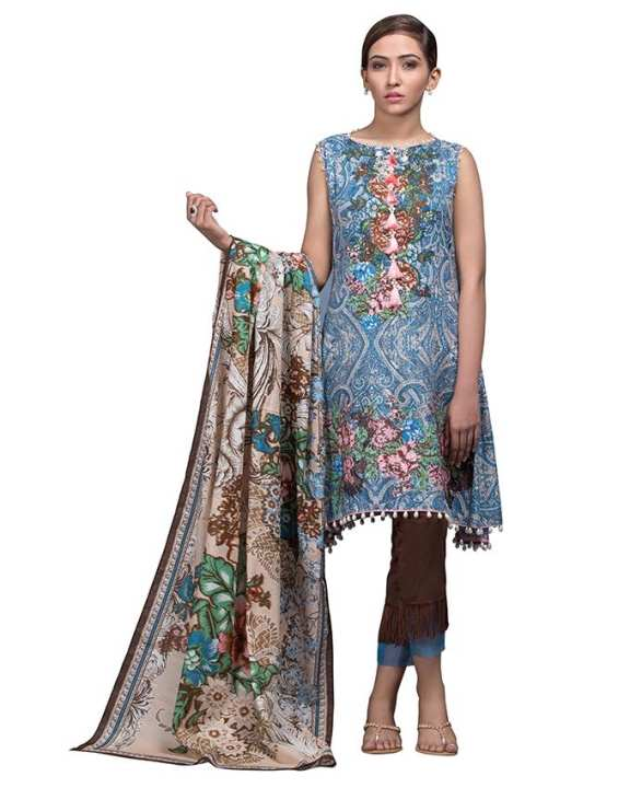 Grey 2 Pc Printed Embroidered-Unstitched -SS-80-18-Grey