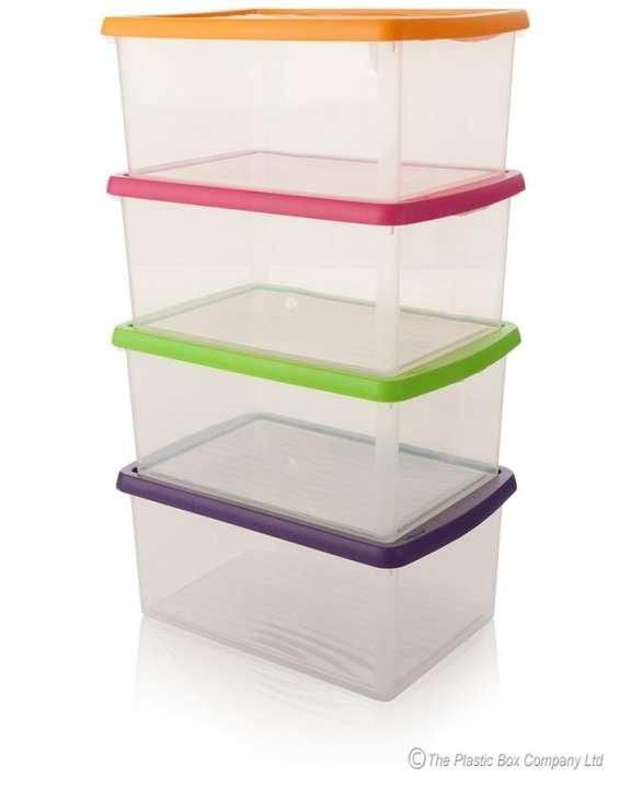 Set Of 4 - Plastic Food Storage Box - Transparent