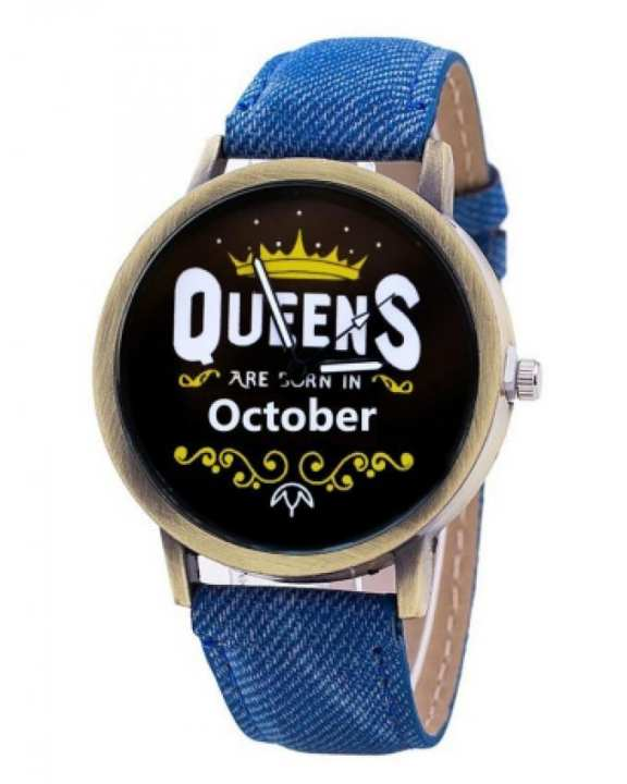 Queens Are Born in October Casual Watch - Blue