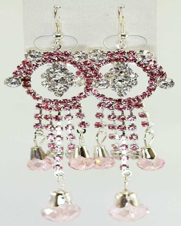 Long Earring Silver with Pink stones