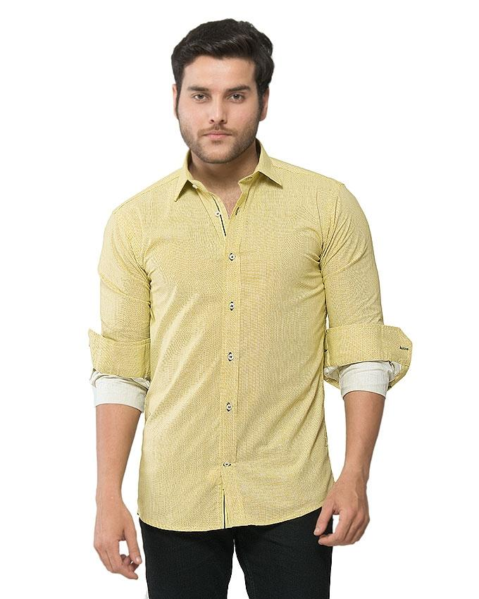 ACLIPSE - Olive Yellow Printed Shirt with Navy Trims