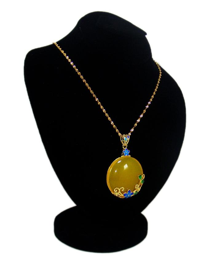 Yellow Flower Round Stone Pendant - Golden