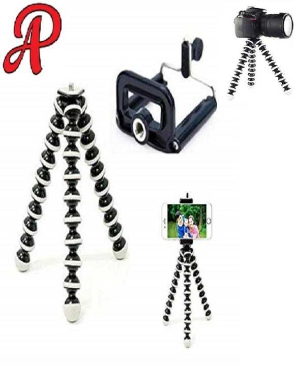 Gorilla Pod Tripod Flexible Tripod For DSLR Mobile Phones and Small cameras Black & white Large Size