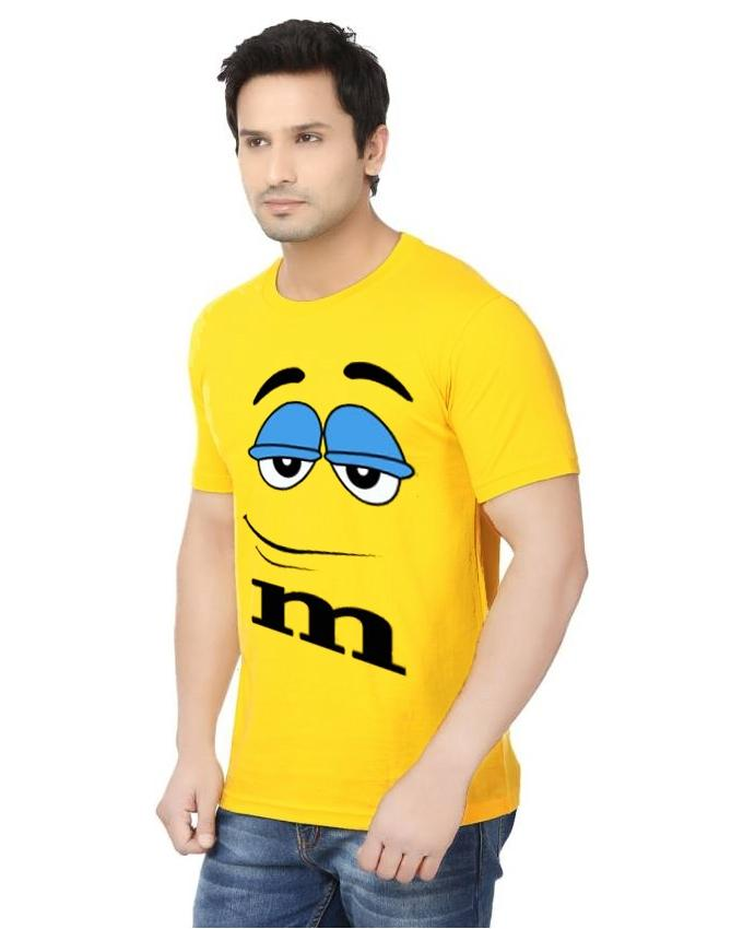 Yellow Cotton T-Shirt For Men