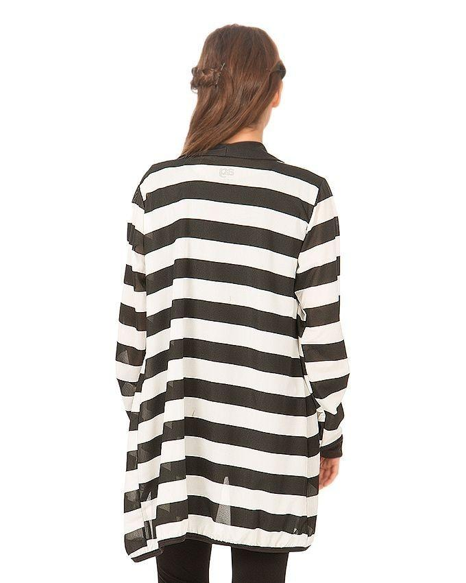 Black & White Viscose Striped Shrug For Women