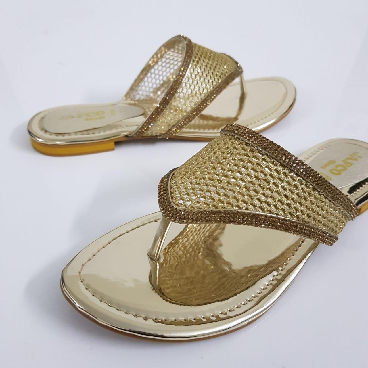 Golden Net Rexine V-Strap for Women