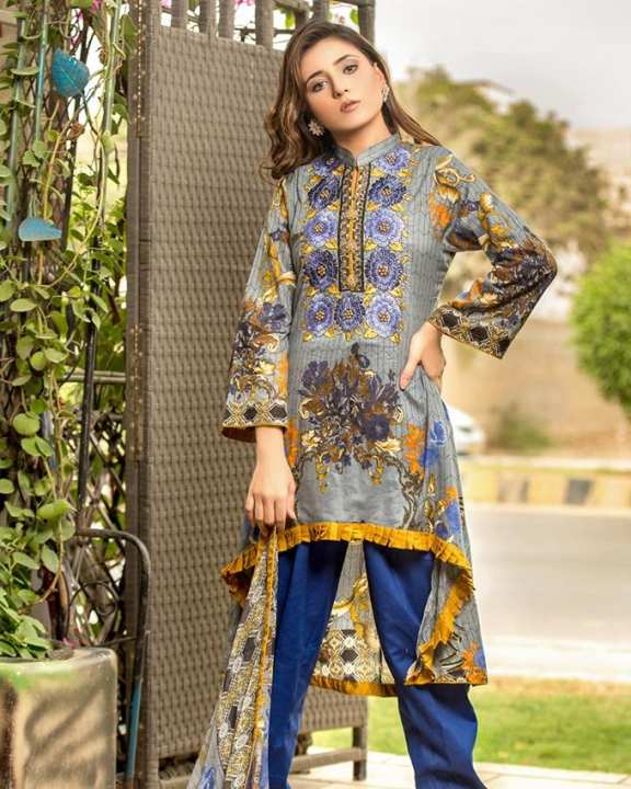 Chase Value Centre Iraar Semi Stitched Multi Embroided Cambric Cotton A 6 -  3Pcs Suit