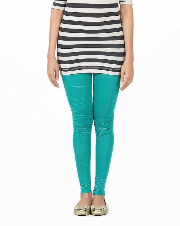 Sea Green Jersey Skin Fitted Tights For Women - FA0292
