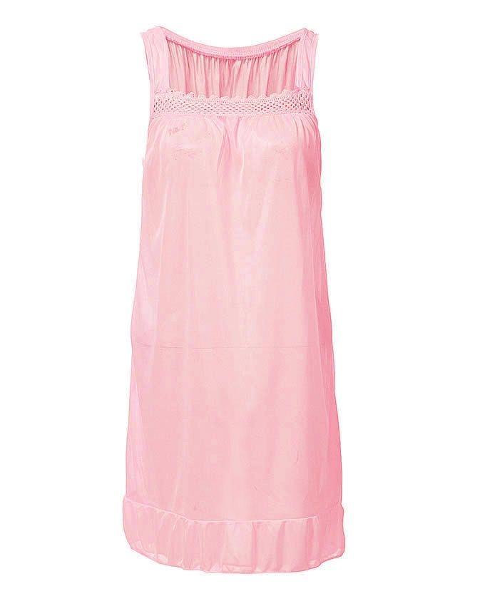 Pink Nylon & Net Nightwear For Women