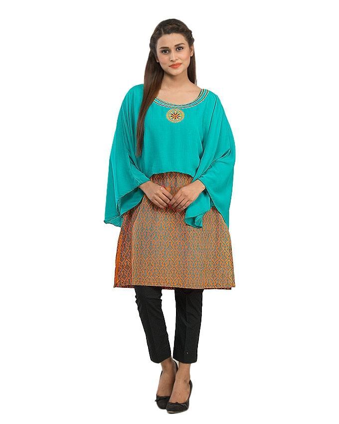 Orange Malai Printed Kurta with Neck Embroidery for Women - 14020