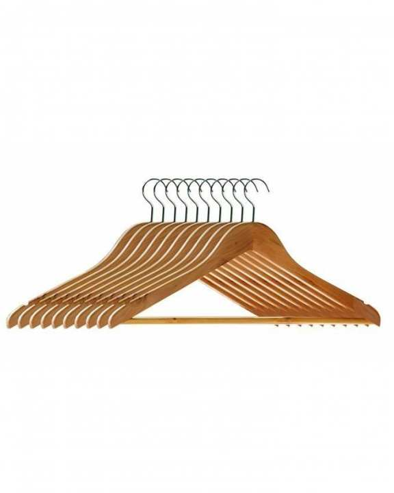 Pack of 10 - Wooden Clothes Hanger - Brown