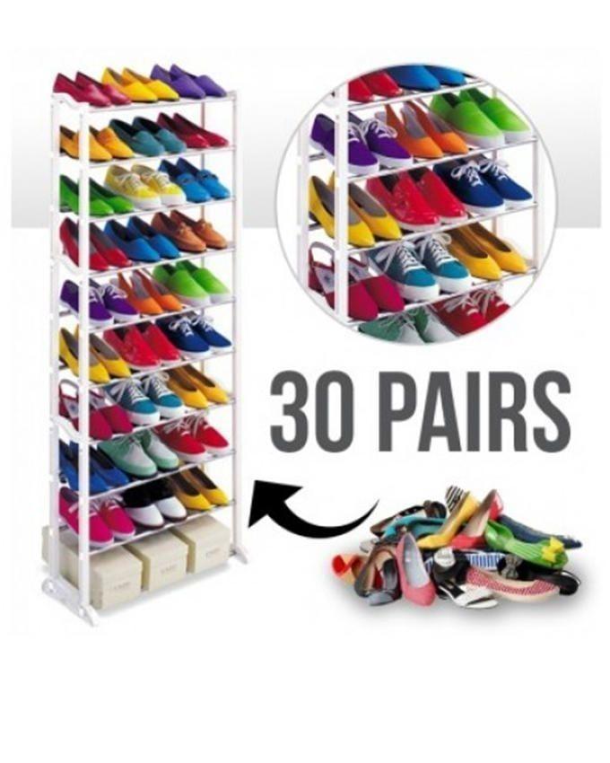 10 Layer Shoe Rack - White