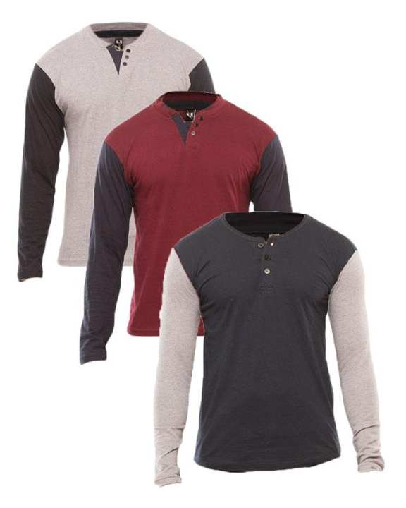 Pack Of 3 - Multicolor Henley Tshirts For Men