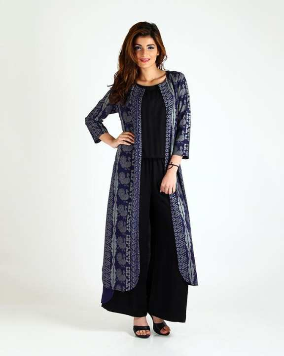 Black Jumpsuit with Printed Blue Coat Caper E02071-Nv0