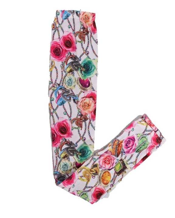 Multicolor Fancy Printed Tights For Girls (Free Size)