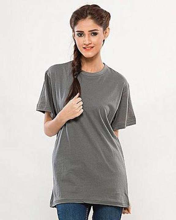 Grey Round Neck T-Shirt for Women