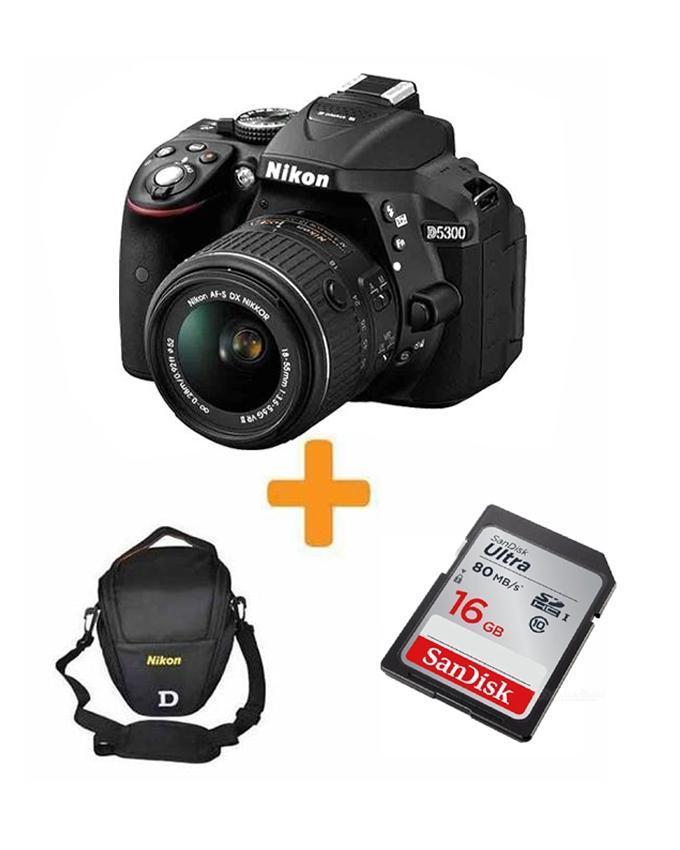 DSLR D5300 With 16GB Card & V Shape Bag - Black