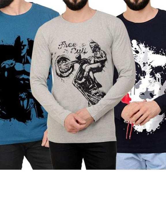 Pack of 3 Printed Long Sleeve T-shirts. P3-PAJ