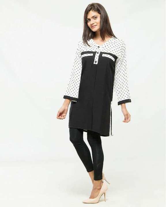 Black & White Cotton Polka Dot Kurti for Women
