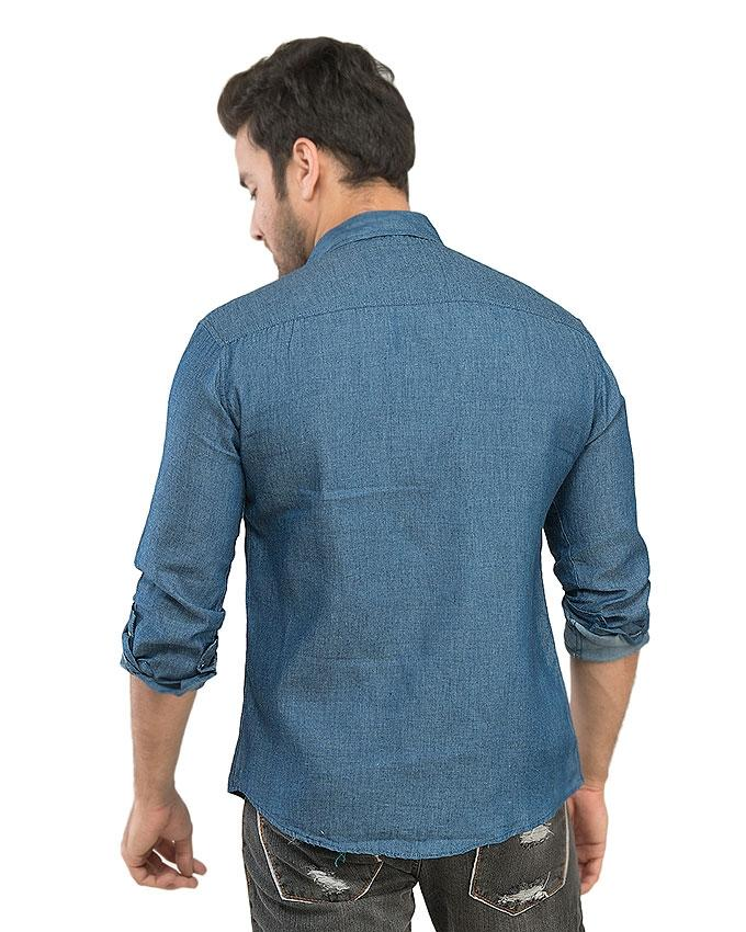 Light Blue Denim Casual Shirts For Men