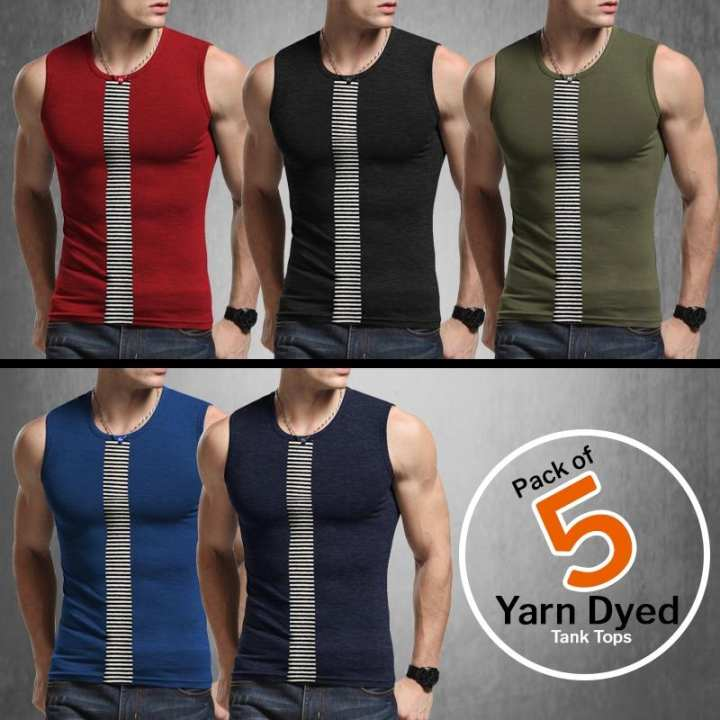 Pack of 5 Yarn Dyed Tank Tops