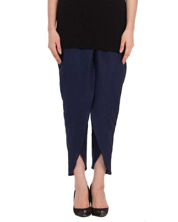 Navy Blue Cotton Tulip Pants For Women
