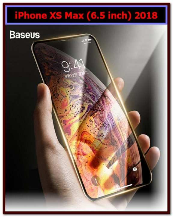 Baseus 0.3mm 3D Tempered Glass Screen Protector Full Edge Cover For iPhone XS Max (6.5 inch)